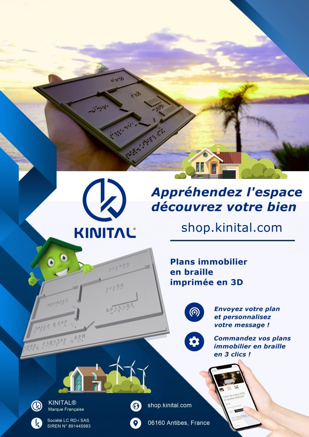 Flyers carte de plan immobilier en Braille Kinital® Shop.Kinital.com