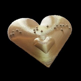 Cœur Je t'aime en bronze en Braille imprimée en 3D Kinital® Shop.Kinital.com